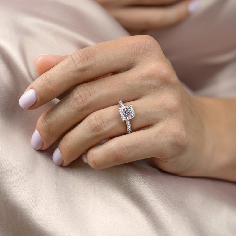 Cushion Cut Moissanite Ring With Pave Set Shoulders