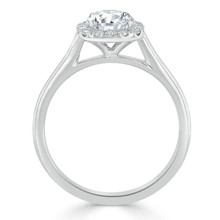Round Cut Moissanite Halo Engagement Ring