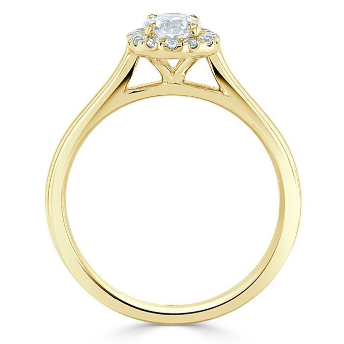Oval Cut Moissanite Halo Engagement Ring