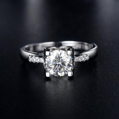 1.00ct Moissanite Engagement Ring, Classic Four Claw Suspended Setting with Stone Set Shoulders , Sterling Silver & Platinum