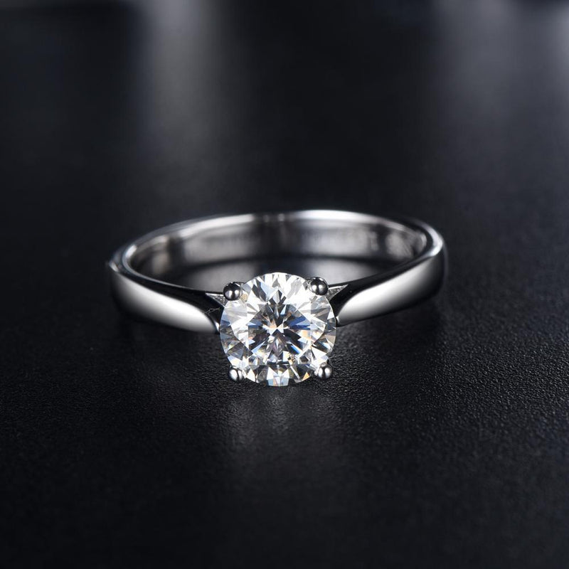 1.00ct Moissanite Engagement Ring, Classic Four Claw Setting, Sterling Silver & Platinum