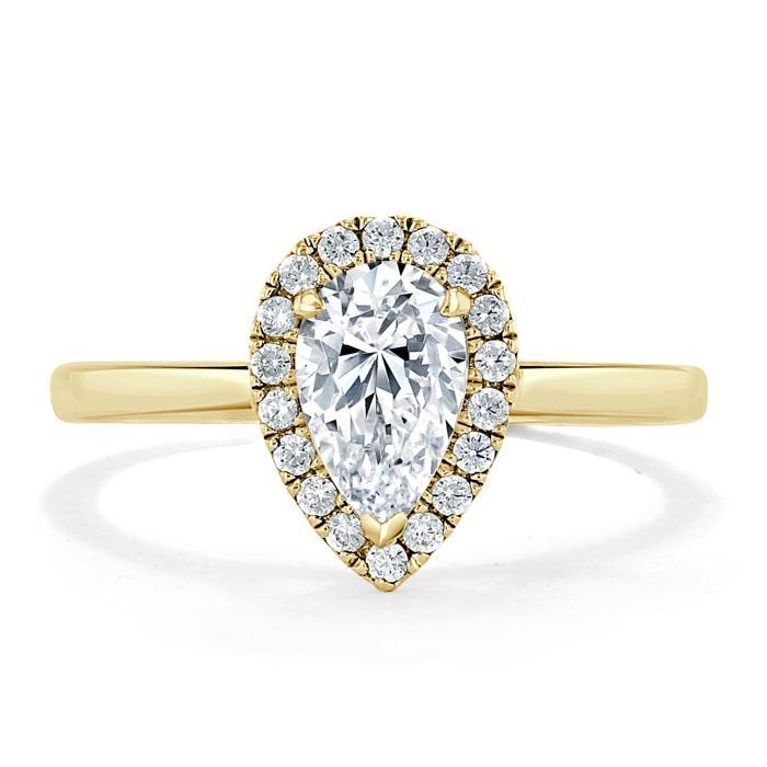 Pear Cut Moissanite Halo Engagement Ring