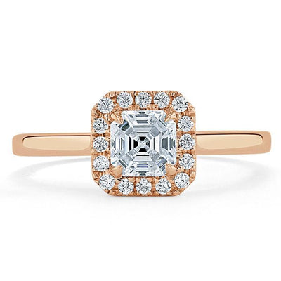 Asscher Cut Moissanite Halo Engagement Ring
