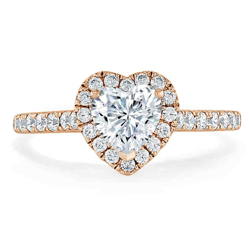 Heart Cut Moissanite, Classic Halo Engagement Ring