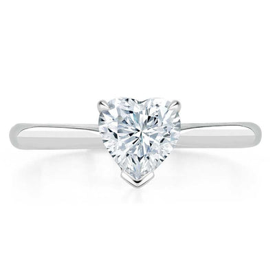 Heart Cut Moissanite Engagement Ring, Classic Style
