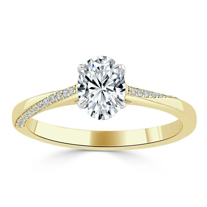 Oval Cut Moissanite Engagement Ring, Classic Style