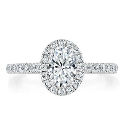 Oval Cut Moissanite Halo Engagement Ring, Tiffany Style