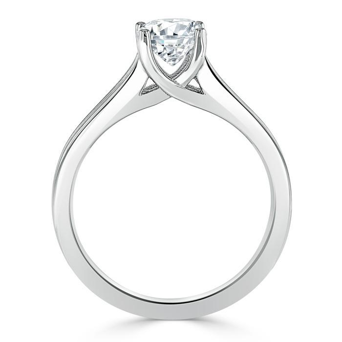 Oval Cut Moissanite Engagement Ring, Classic Style with Split Shank