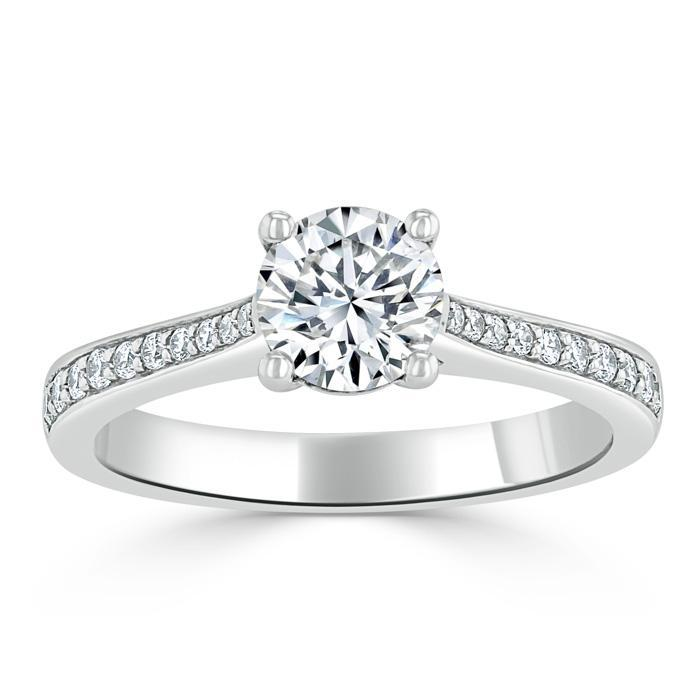 Round Cut Moissanite Engagement Ring, Classic Style