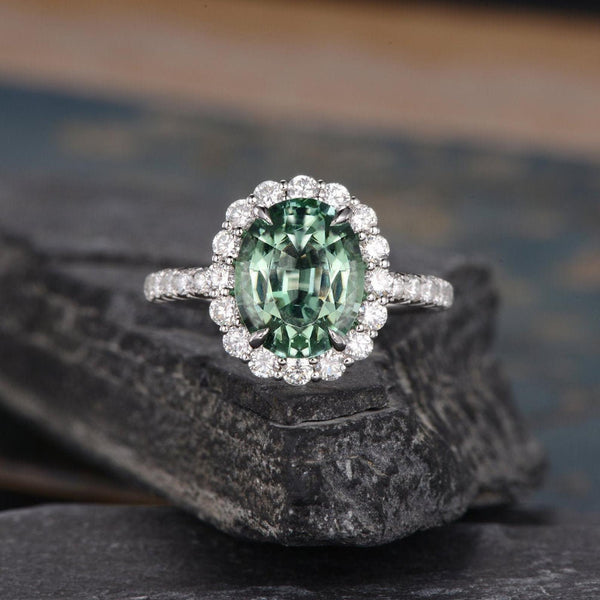 Oval Cut Green Tourmaline, Traditional Halo Design