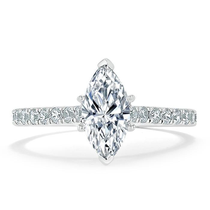 Marquise Cut Moissanite Engagement Ring, Classic Style