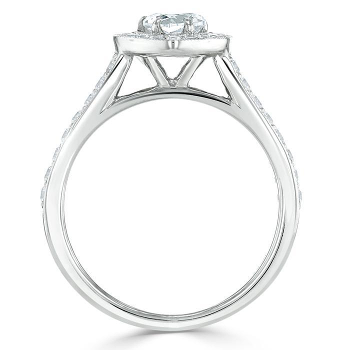 Heart Cut Moissanite Engagement Ring, Classic Halo