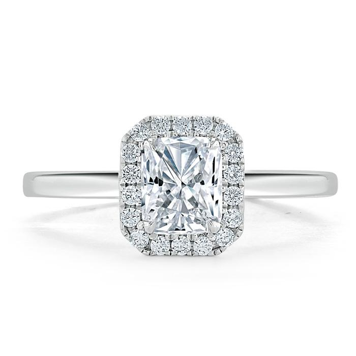 Radiant Cut Moissanite Halo Engagement Ring