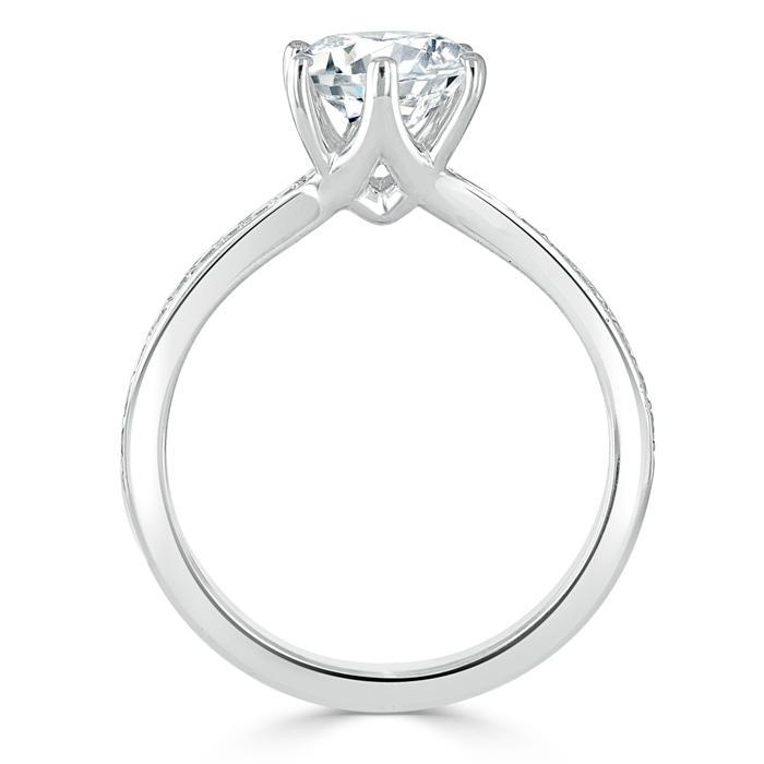 Round Cut Moissanite Engagement Ring, Classic Tiffany Style