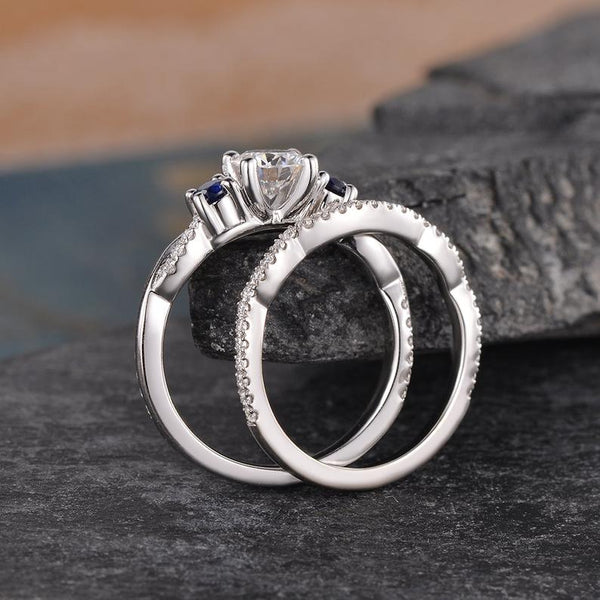 Round Cut Moissanite and Sapphire Ring set