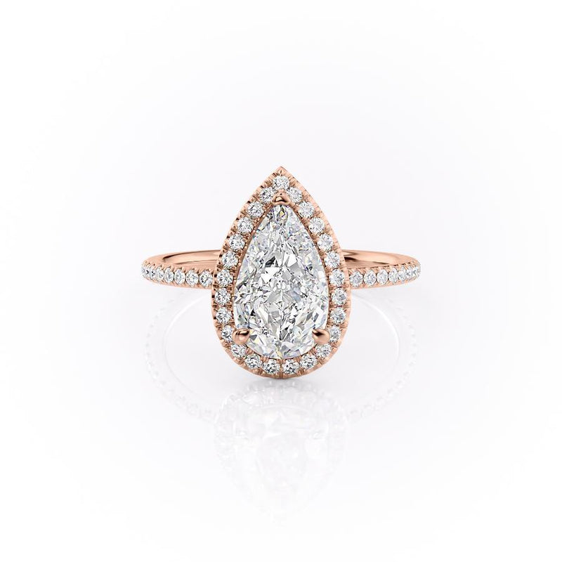 Pear Cut Moissanite Ring, Classic Halo Design