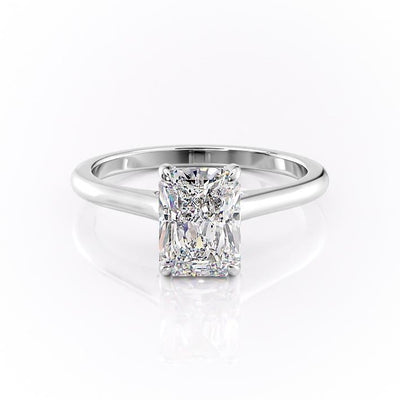 Radiant Cut Moissanite Ring, Hidden Halo