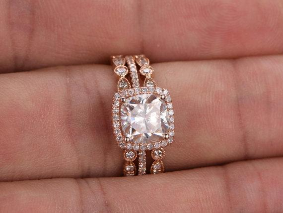 Cushion Cut Bridal Ring Set, Vintage Style Bands