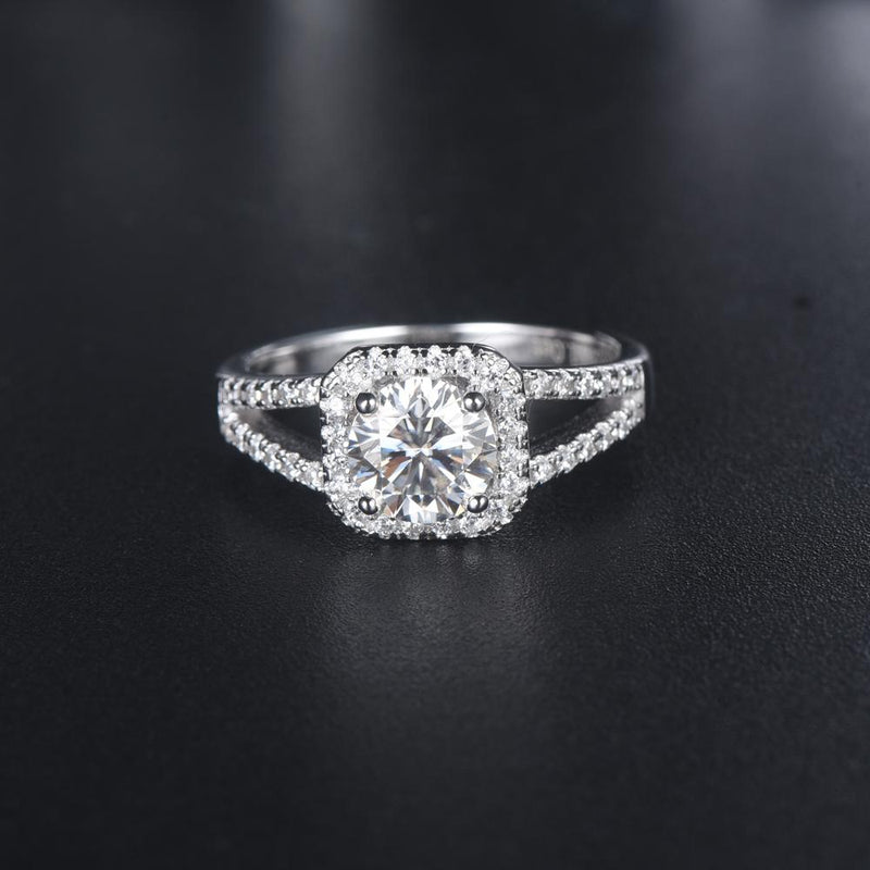 1.00ct Moissanite Engagement Ring, Classic Halo with Split Shank , Sterling Silver & Platinum
