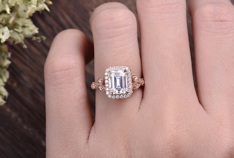 Emerald Cut Moissanite Engagement Ring, Floral Art Deco Halo Design, Choose Your Stone Size & Metal