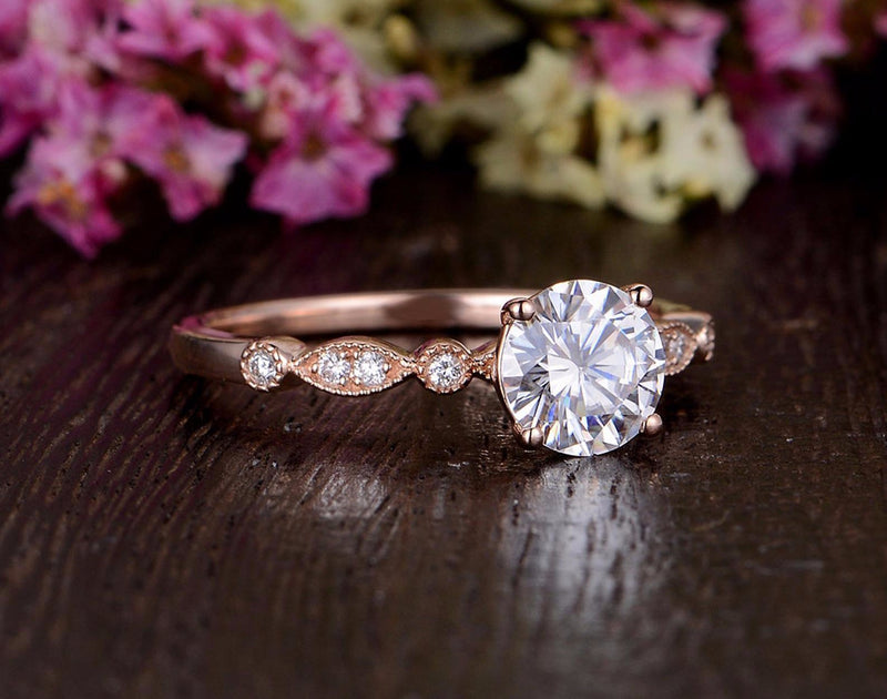 Round Cut Moissanite Engagement Ring, Unique Vintage Design