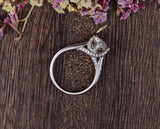 Round Cut Moissanite Engagement Ring, Vintage Six Claw Design