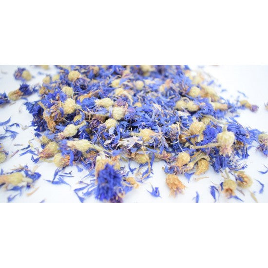Whole dried Cornflower flowers of blue color