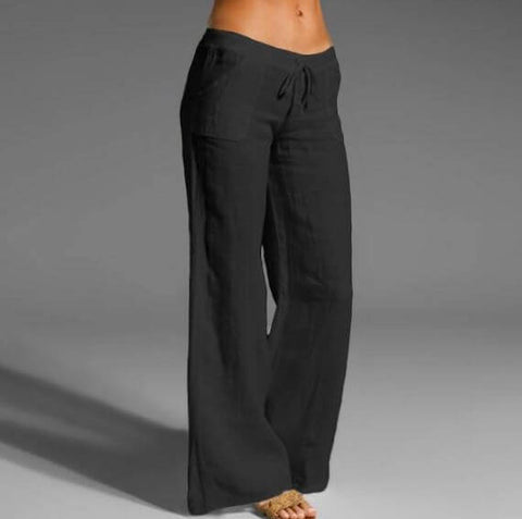 Black Linen Loose Fitting Trouser For Women- Infant Kingdom