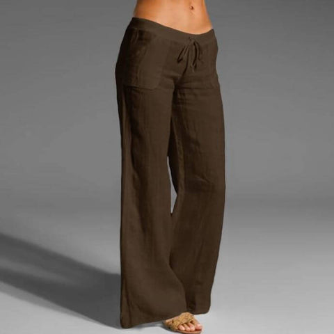 Brown Linen Cotton Trousers for Ladies - Infant Kingdom