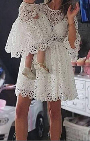 Matching Mum Toddler Girl White Party Dresses - Infant Kingdom