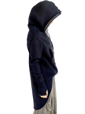 Protective Hooded Asymmetrical Fleece Hoodie Full Face Cover Up Zip Mask - Infant Kingdom