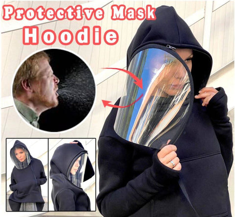 Harajuku Hoodie With Removable Transparent Face Shield Mask - Infant Kingdom