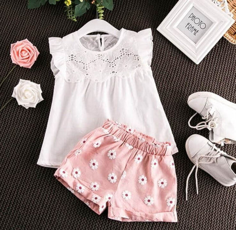 Baby Girl Cotton Top Trousers - Infant Kingdom