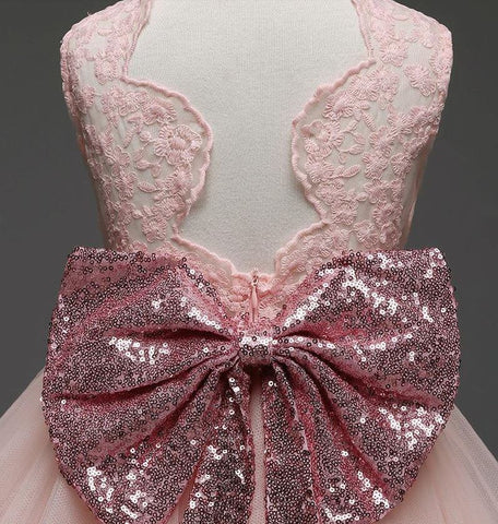 Golden Pink Bow princess tutu dress for special occassions