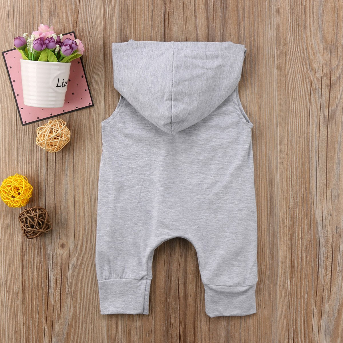 Sleeveless Hooded Zip Cotton Baby Romper - Infant Kingdom