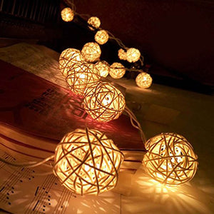 LED Rattan Balls Fairy String Decorative Lights for Christmas Patio Garland Wedding Decor - Infant Kingdom