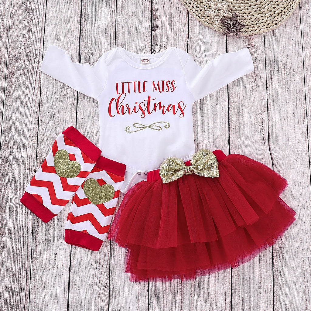 Hot Sale Baby Christmas Outfits My First Christmas Girl Clothes Set Cute Bodysuit+Layering Skirt+Knee Pads Baby Girl Clothes - Infant Kingdom