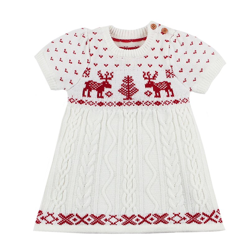 Christmas Autumn Winter Girls Dresses Knitted Sweater Baby Girl Cartoon Deer Dress Baby Girl Clothes - Infant Kingdom