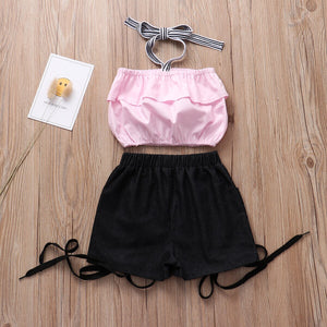 Fashion Girls Clothing Cotton Ruched Top Short Pants Set - Infant Kingdom