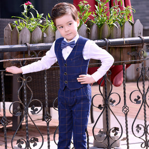 Boys Classic Suit Waistcoat Shirt Bow Tie & Pants 4pcs Suit - Infant Kingdom