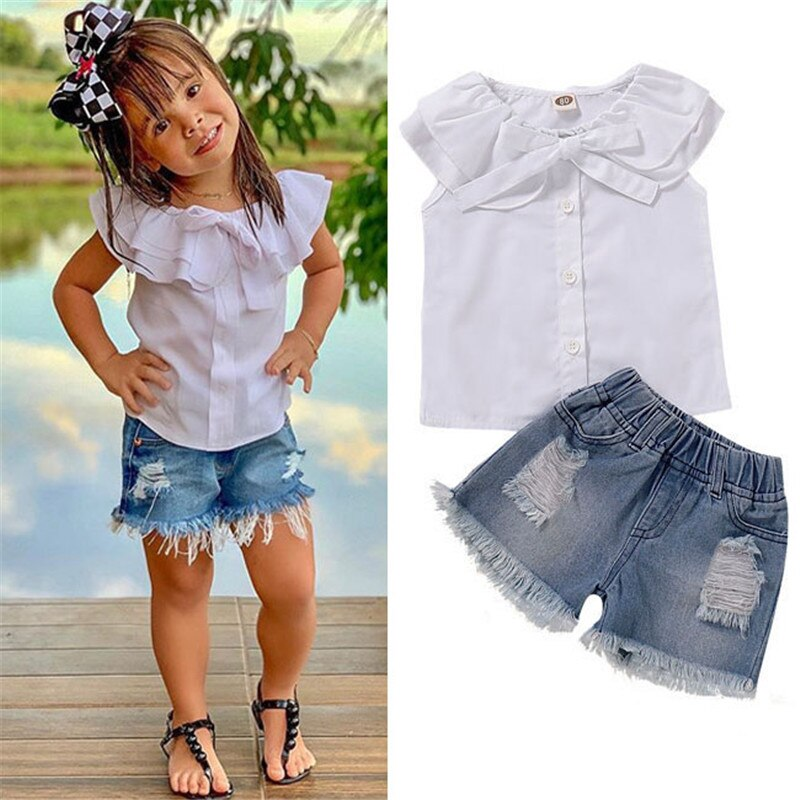 White Sleeveless Top + Ripped Short Jeans Baby Girl Toddler Clothing Set - Infant Kingdom