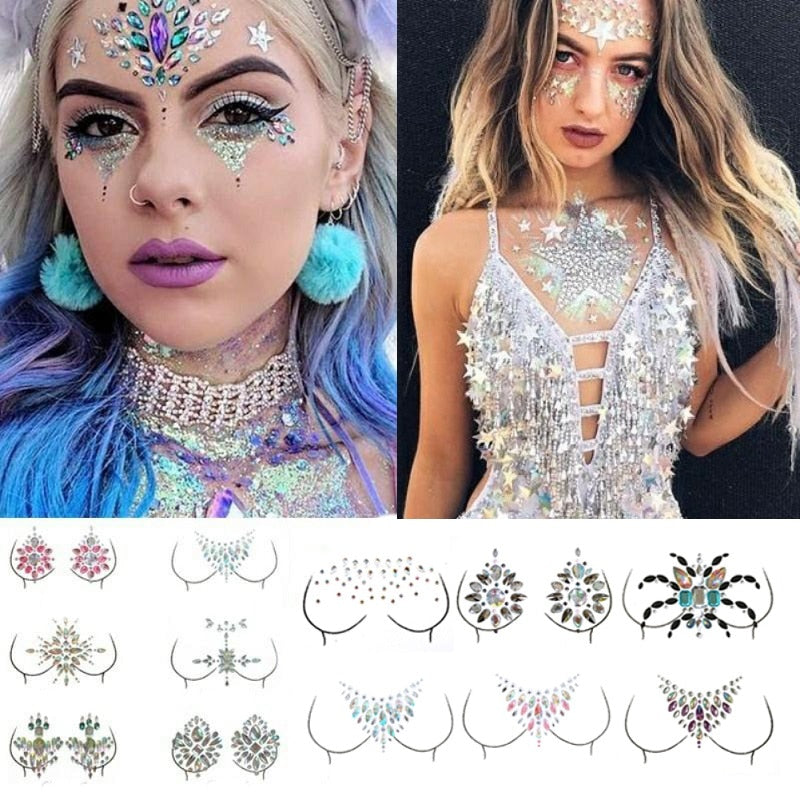 Acrylic Crystal 3D Chest Jewels Face Decoration Drill Diamond Tattoo - Infant Kingdom
