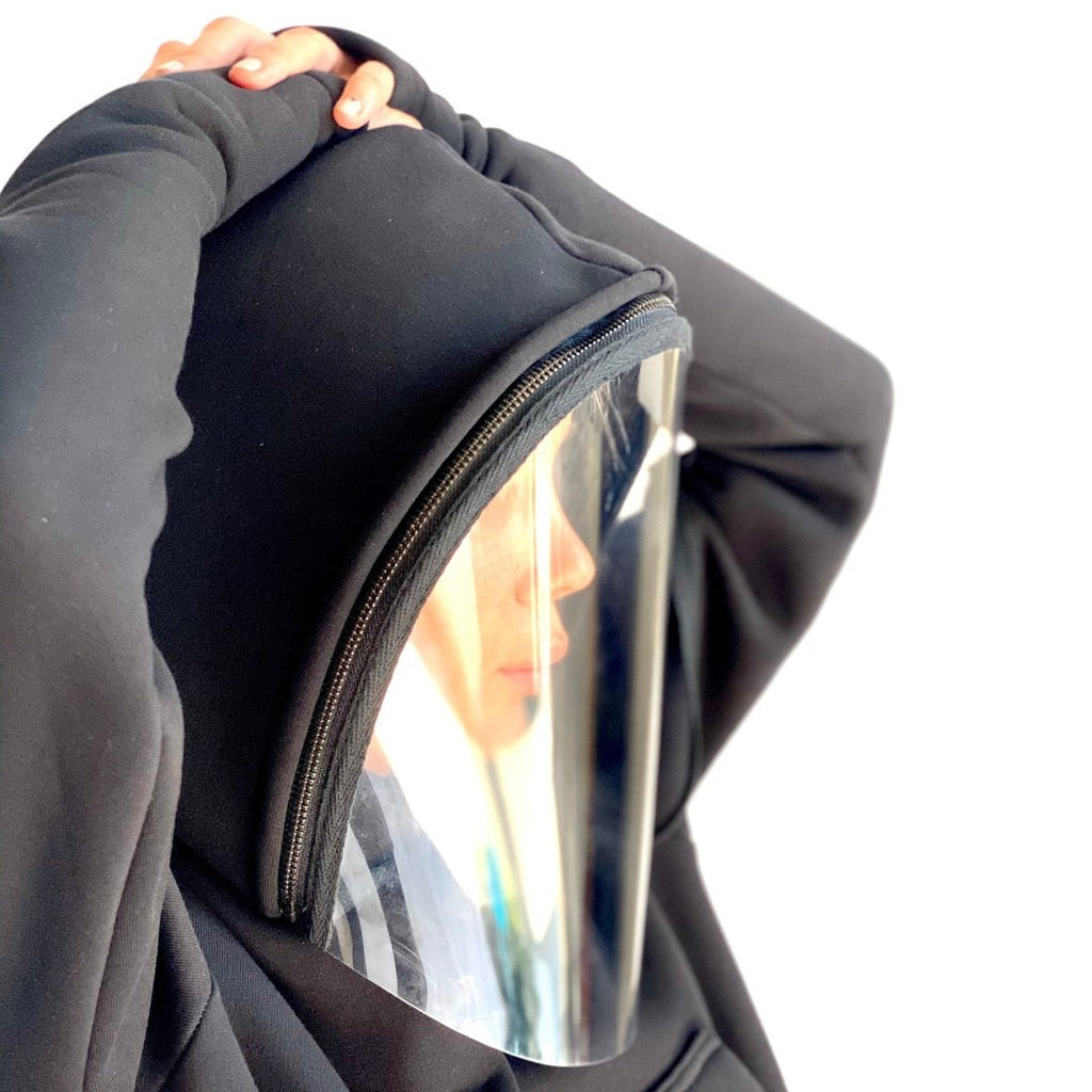 Harajuku Hoodie With Transparent Face Shield
