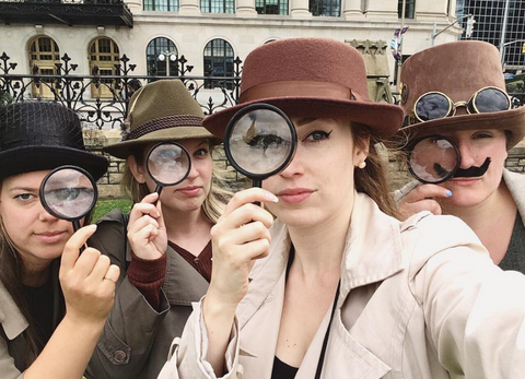 Four detectives taking part in a detective game
