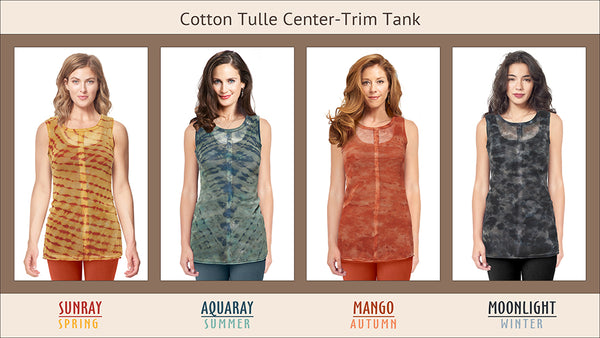 Tulle Center-Trim Tank, hand-dyed