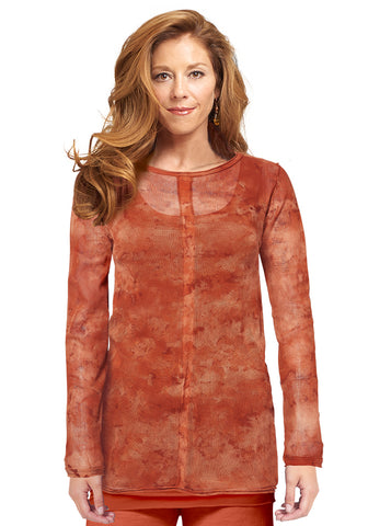 Tulle Center-Trim Long Sleeve Tunic, hand-dyed