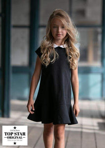 Elegant black dress with a collar Dresses