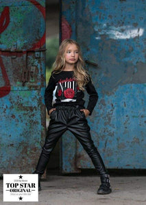 Leather-look trousers with pleated waist Trousers