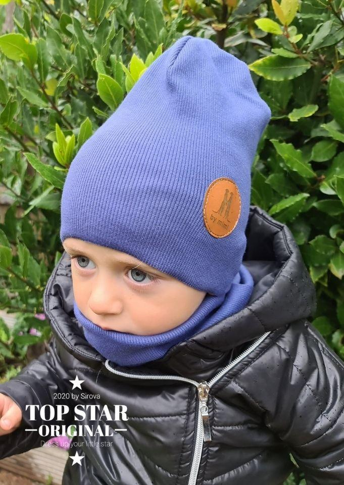 Light navy blue hat and neck warmer Hats