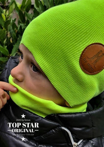 Matcha green hat and neck warmer Hats